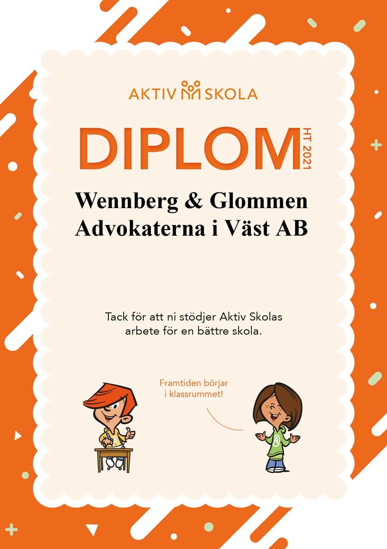 Sponsring Aktiv skola Samarbete Diplom
